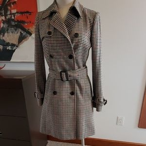 J Crew Houndstooth Plaid Italian Wool Icon Trench